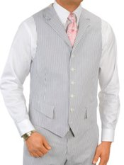 100% Cotton Seersucker Six-Button Suit Separate Vest