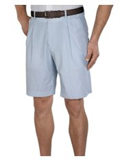100% Cotton Seersucker Pleated Shorts