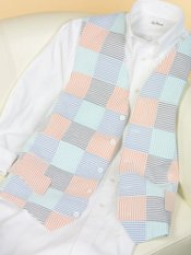 100% Cotton Seersucker Patchwork Six-Button Vest