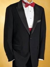 Wool One-Button peak Lapel Solid Tuxedo