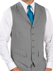 100% Wool Six-Button Notch Lapel Suit Separate Vest