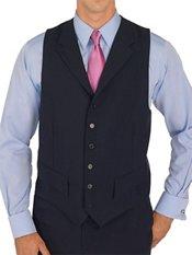100% Wool Six-Button Notch Lapel Suit Separate Vest