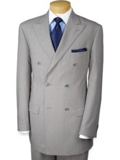 100% Wool Double-Breasted Peak-Lapel Trim Fit Suit Separate Jacket