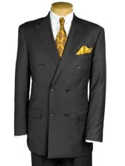 100% Wool Double Breasted Peak Lapel Trim Fit Suit