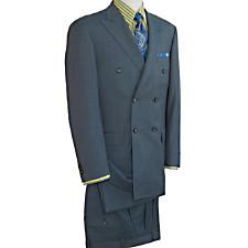 Wool & Silk Sharkskin Double Breasted Peak Lapel Suit