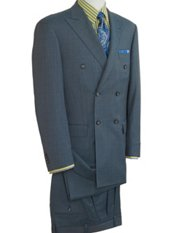 Wool & Silk Sharkskin Double Breasted Peak Lapel Suit