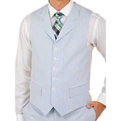 Stripe Seersucker Pure Cotton Suit Separate Vest $30.00 AT vintagedancer.com