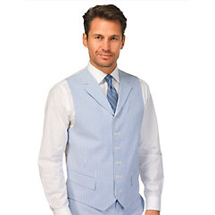 Men's Vintage Inspired Vests Stripe Seersucker Pure Cotton Suit Separate Vest $13.00 AT vintagedancer.com