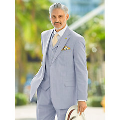 Men's Vintage Style Suits, Classic Suits Navy Stripe Cotton Seersucker Suit Jacket $220.00 AT vintagedancer.com
