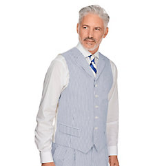 Men's Vintage Inspired Vests Navy Stripe Cotton Seersucker Suit Vest $90.00 AT vintagedancer.com