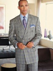 Italian Premium Wool Plaid Double-Breasted Peak-Lapel Suit