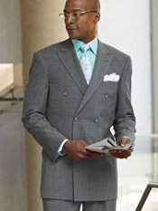 Premium Wool Windowpane Double-Breasted Peak-Lapel Suit