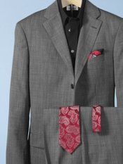 Wool Nailhead Three-Button Notch-Lapel Suit