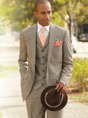 Wool Houndstooth Three-Piece Two-Button Notch Lapel Suit