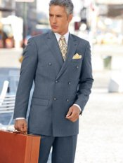 Wool & Silk Sharkskin Double-Breasted Peak-Lapel Suit