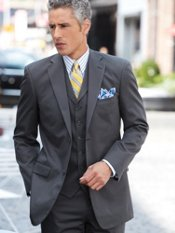 100% Wrinkle & Stain Resistant Cotton Three-Piece Two-Button Trim Fit Suit