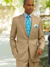 Wool & Silk Sharkskin Two-Button Peak Lapel Suit