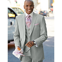 Solid Pearl Grey Pure Wool Suit $320.00 AT vintagedancer.com