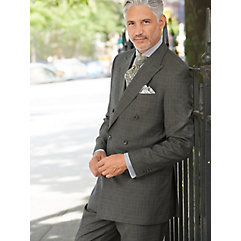 Charcoal Plaid Wool & Silk Double Breasted Suit