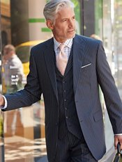 Navy with Blue & Melon Stripe Pure Wool Suit