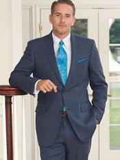 Indigo with Seafoam Grid Pattern Wool & Linen Suit