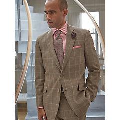 Tan Windowpane Wool Silk  Linen Suit Separate Jacket $270.00 AT vintagedancer.com