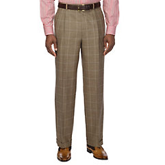 Tan Windowpane Wool Silk  Linen Pleated Suit Separate Pants $80.00 AT vintagedancer.com