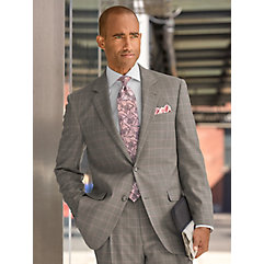 Men's Vintage Style Suits, Classic Suits Grey Windowpane Super 120s Sharkskin Wool Suit Jacket $270.00 AT vintagedancer.com