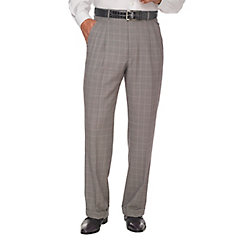 Men's Vintage Style Pants, Trousers, Jeans, Overalls Grey Super 120s Sharkskin Wool Pleated Suit Pants $110.00 AT vintagedancer.com