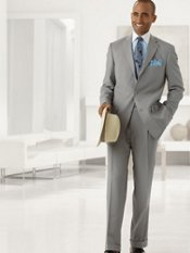 Wool Three-Button Notch Lapel Stripe Suit
