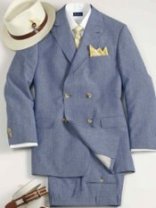 Linen Blend Double-Breasted Peak Lapel Solid Suit