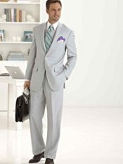 Wool & Silk Two-Button Peak Lapel Solid Suit