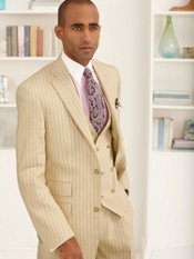 Linen & Wool Two-Button Notch Lapel Stripe Three Piece Suit