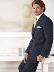 Two-Button Peak Lapel Stripe Suit