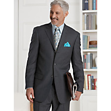 100% Wool Stripe Three-Button Notch Lapel Suit
