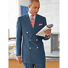 Indigo Stripe Pure Linen Double Breasted Suit $300.00 AT vintagedancer.com