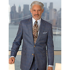 Blue with Tan and Grey Windowpane Wool  Silk Suit Separate Jacket $270.00 AT vintagedancer.com