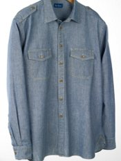 Washed Cotton Chambray Sport Shirt
