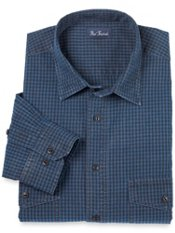 Washed Cotton Chambray Check Sport Shirt