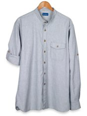 Washed Cotton Chambray Stripe Sport Shirt
