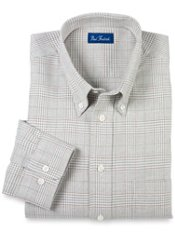 Glen Plaid Cotton Long Sleeve Sport Shirt