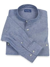 Cotton Chambray Band Collar Sport Shirt