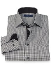100% Cotton Houndstooth Spread Collar Sport Shirt