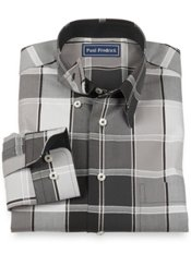 100% Cotton Windowpane Hidden Button Down Collar Sport Shirt