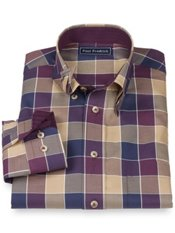100% Cotton Buffalo Plaid Hidden Button Down Collar Sport Shirt
