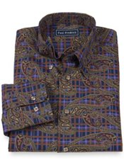 100% Cotton Paisley Hidden Button Down Collar Sport Shirt
