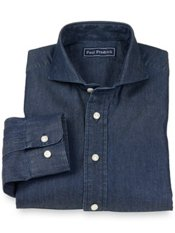 100% Cotton Chambray Extreme Cutaway Collar Sport Shirt