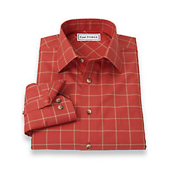 Non-Iron 100 Cotton Windowpane Spread Collar Trim Fit Sport Shirt $60.00 AT vintagedancer.com