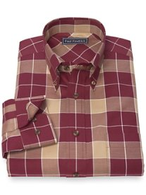 100% Cotton Buffalo Plaid Button Down Collar Sport Shirt
