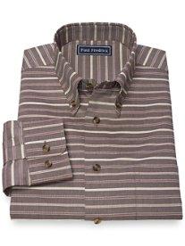Slim Fit 100% Cotton Horizontal Stripe Button Down Collar Sport Shirt
